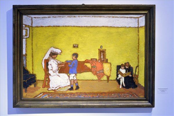 Rippl-Rónai József Sárga zongoraszoba című festménye A titkos gyűjtemény című kiállításon (MTI Fotó: Máthé Zoltán)