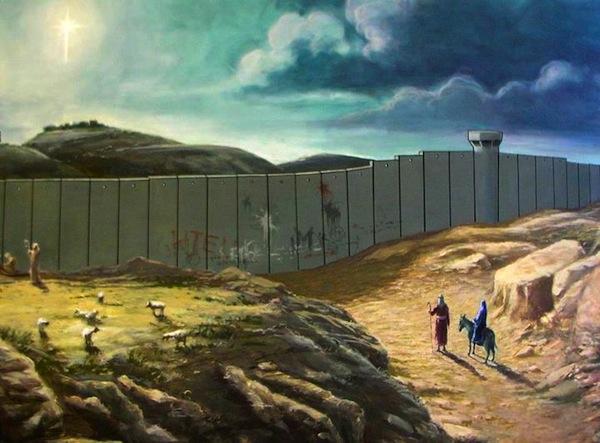 A Banksy-nek tulajdonított betlehemi képeslap