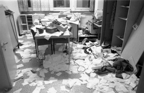 A berlini Stasi archívuma az 1990-es rajtaütés után (Fotó: blogs.telegraph.co.uk/Thomas Uhlemann)