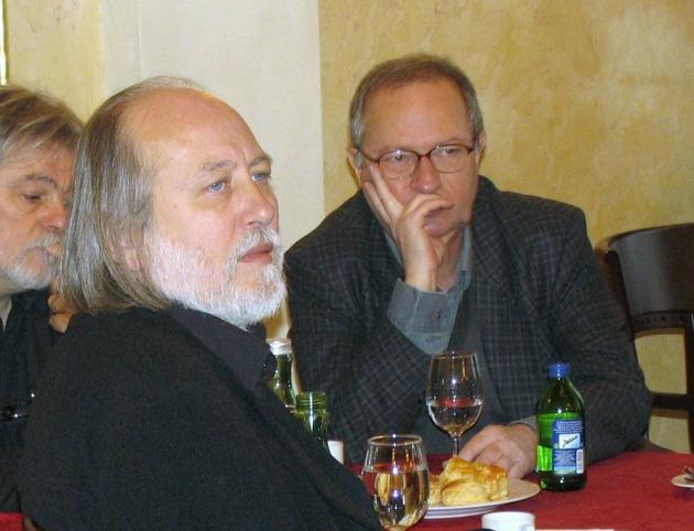 Parti Nagy Lajos, Krasznahorkai László és Spiró György 2006-ban (Forrás: pim.hu)