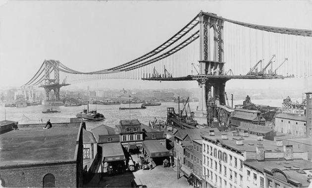 A Brooklyn-híd építése (Fotó: aintitcool.com)