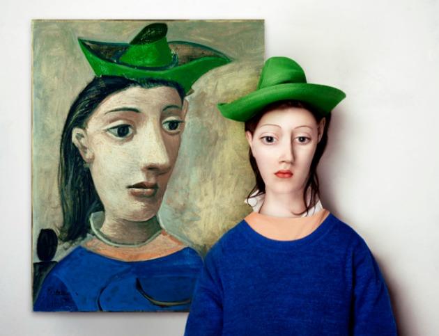Borsi Flóra: The Real Life Models - Picasso: Nő zöld kalappal festménye alapján