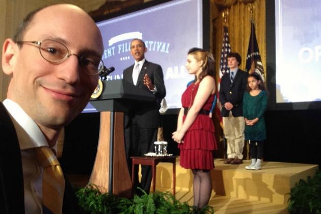 Árvai Péter szelfije az amerikai elnökkel (Forrás: Faix Csaba/Origo)