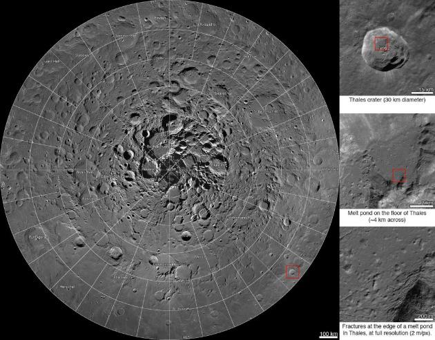Új interaktív mozaik a Hold északi pólusának környékéről (Fotó: NASA/GSFC/Arizonai Állami Egyetem)