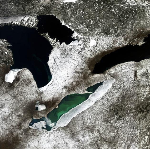 A Nagy-tavak három képviselője: Erie, Huron és Ontario (Fotó: ESA)
