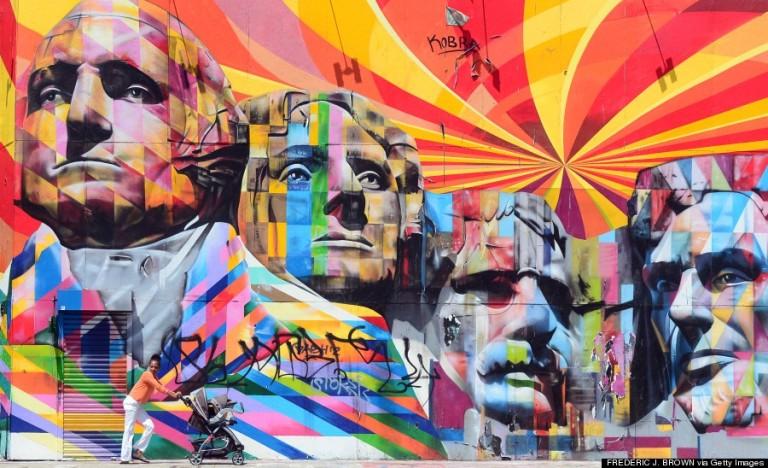 Ez a hatalmas falfestmény egy brazil művész, Eduardo Kobra érdeme