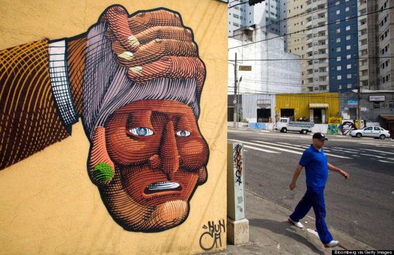 Francisco Rogrigues, művésznevén Nunca falfestménye Sao Paolo utcáján