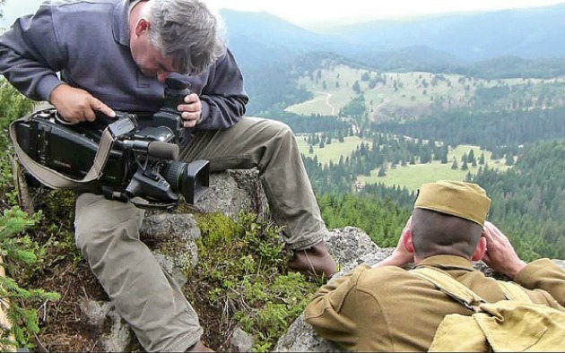 A Kereszthegy forgatásán (Fotó: Katonai Filmstúdió)