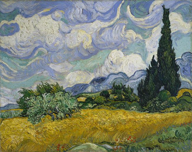 Egy alkotás Van Gogh ciprus-festményei közül: Búzamező ciprusokkal 1889