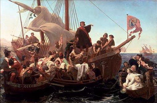 Christopher Columbus a Santa Maria fedélzetén 1492-ben (Forrás: en.wikipedia.org)