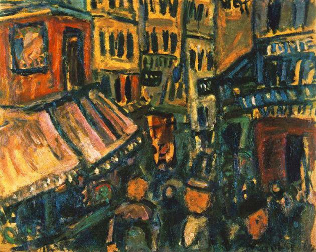 Párizsi utca (1926; olaj, vászon, 73,5 x 91,5 cm; Magántulajdon, Budapest)