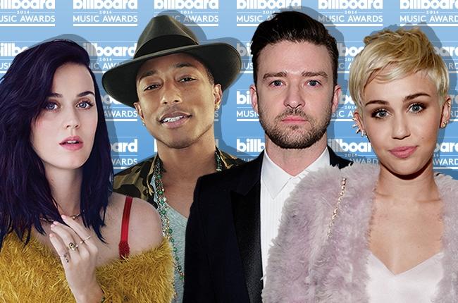 Az est győztesei: Katy Perry, Pharrell, Justin Timberlake, Miley Cyrus (Fotó: billboard.com)
