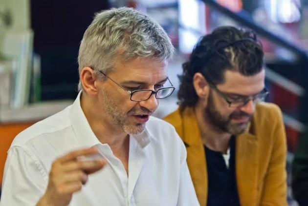 Alföldi Róbert és Gergye Krisztián az olvasópróbán (Fotó: Mészáros Csaba)