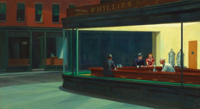 Edward Hopper: Éjjeli baglyok (fotó: wikipedia)