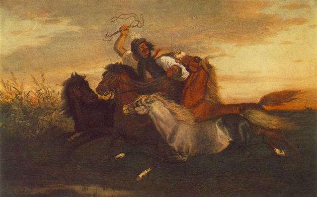Lotz Károly: Vágtató betyár (1857, Magyar Nemzeti Galéria, Forrás: Wikipedia)
