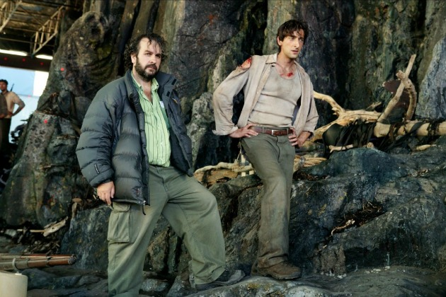 Peter Jackson és Adrien Brody a King Kong forgatásán 2005-ben (Fotó: theredlist.com)