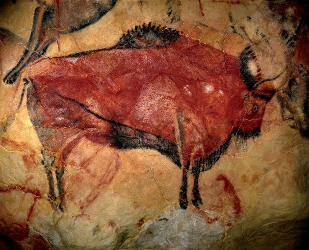 Auroch-ábrázolás az Altamira-barlangban (Fotó: hirado.hu/AFP)