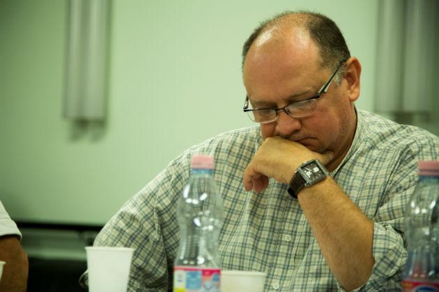 Znamenák István rendező az előadás olvasópróbáján