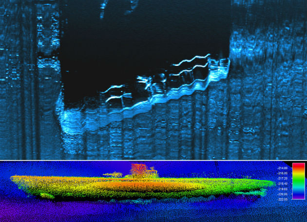 A német U-576 és a Bluefields teherszállító (felül) a NOAA hanglokátoros felvételein (Fotó: hirado.hu/AFP)