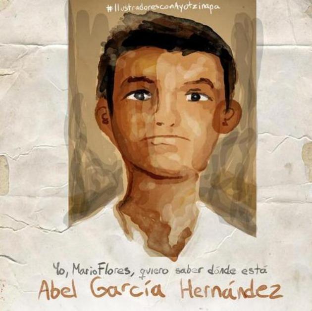 Én, Mario Flores tudni akarom, hol van Abel García Hernández (Fotó: ilustradoresconayotzinapa.tumblr.com)