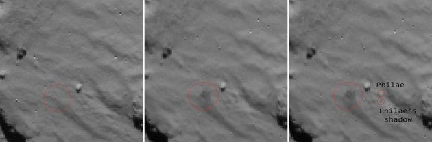 Az ESA által november 16-án közreadott felvétel a Philae landolási helyét mutatja érkezés és felpattanás után a Rosetta kamerájával. Az első képen a felszín látható a landolás előtt, a második és a harmadikon a landolást követően. A vörös kör a felvert porfelhő árnyékát jelöli ki, a harmadik képen a Philae-t és árnyékát jelölték ki hasonló módon. (Fotó: hiradeo.hu/AFP/ESA)