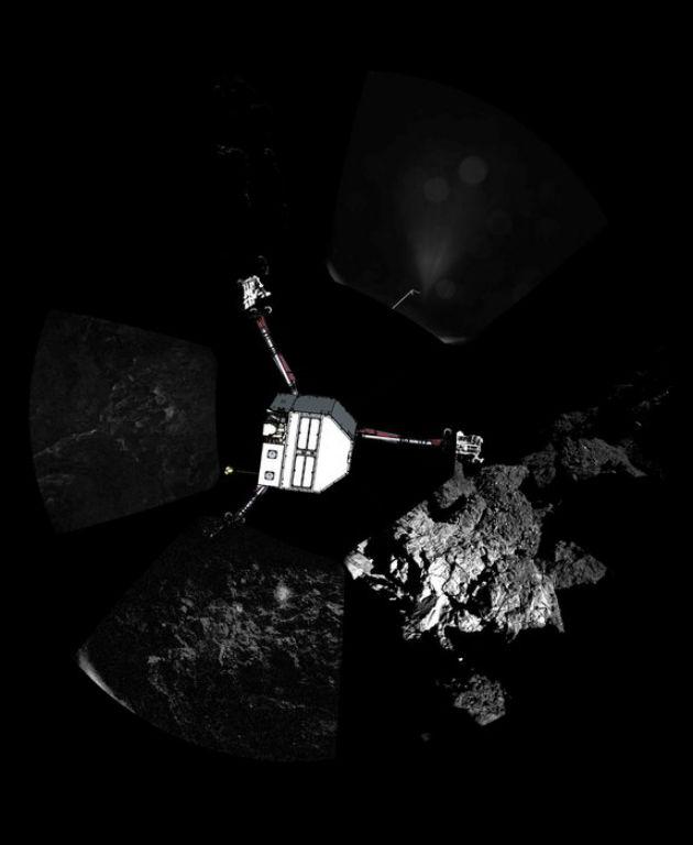 A Philae feltételezett landolási pozíciója a panorámaképre vetítve. (Fotó: Hirado.hu/ESA/Rosetta/Philae/CIVA)