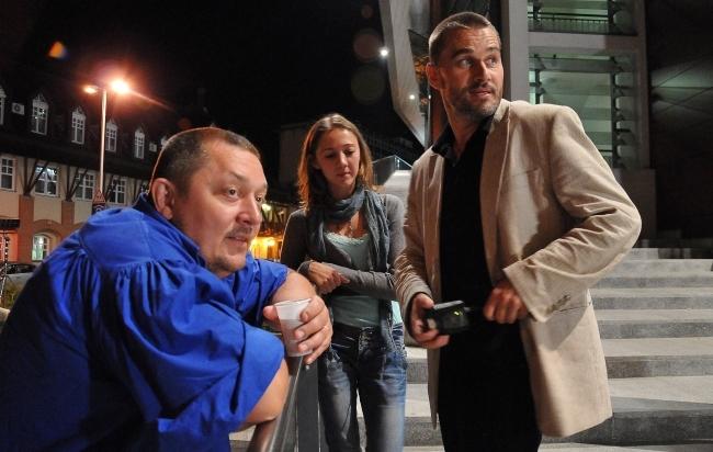 Vidnyánszky Attila rendező, Tarpai Viktória és Trill Zsolt színészek a Szarvassá változott fiú forgatásán Debrecenben (MTI Fotó: Czeglédi Zsolt)