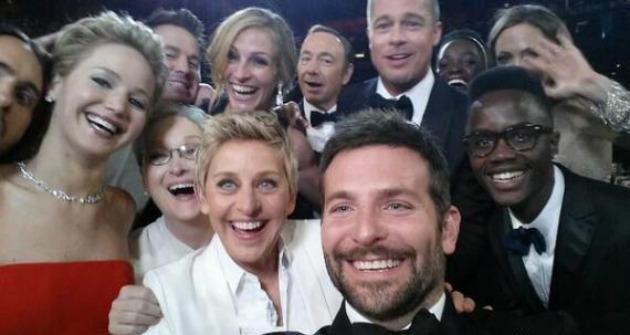 A híres Oscar szelfi (Fotó: Ellen Degeneres/Twitter)