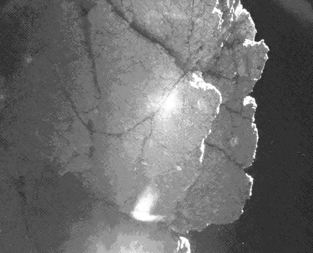A visszapattanást követően a Philae ezt a képet készített a 67P/Csurjumov-Geraszimenko-üstökös egyik sziklájáról. (Fotó: ESA/Rosetta/Philae/CIVA/Hirado.hu)