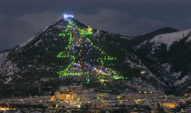 A világ legnagyobb karácsonyfája, amelynek fényeit Ferenc pápa kapcsolta fel (Fotó: hoteldesartistes.com)