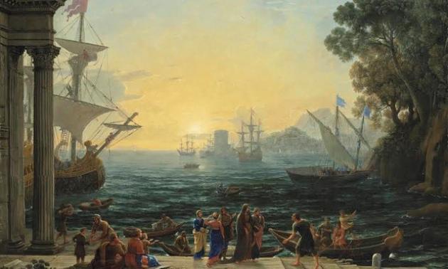 A mediterrán kikötő napfelkeltekor Szent Paula hajóra szállásával Jeruzsálembe Fotó: Kulturális Minisztérium (Egyesült Királyság)