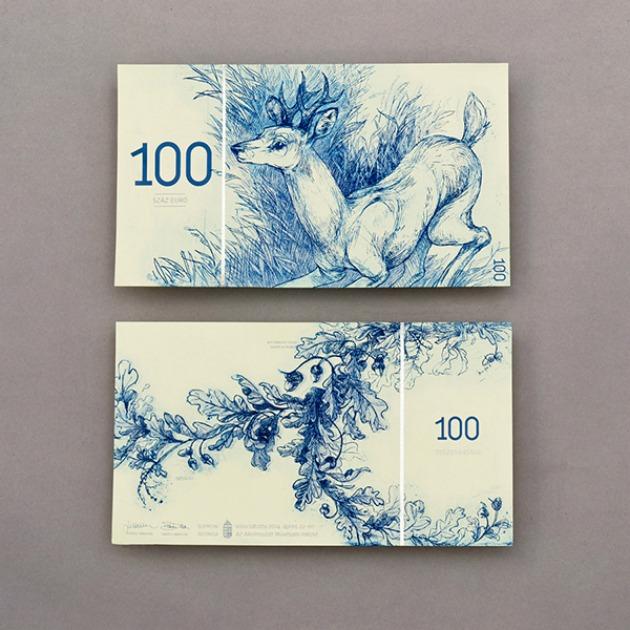 100 eurós: Európai őz (Capreolus capreolus) és kocsányos tölgy (Quercus robur)