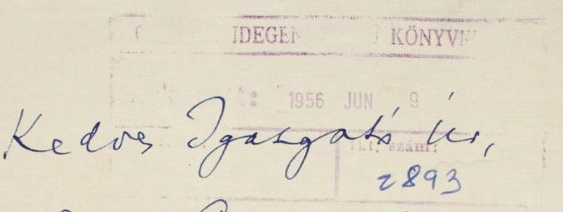 Kodály Zoltán levele a Corvina Kiadónak 1959. – Kézirattár
