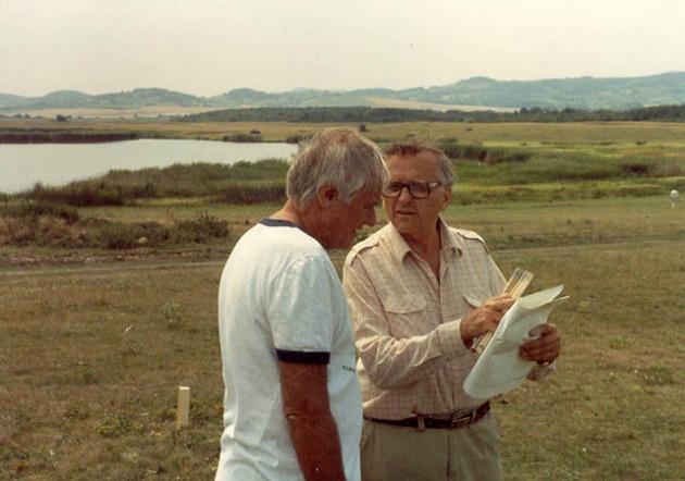 Jancsó Miklós és Banovich Tamás az Allegro barbaro forgatásán, 1978 (Fotó: filmkultura.hu)