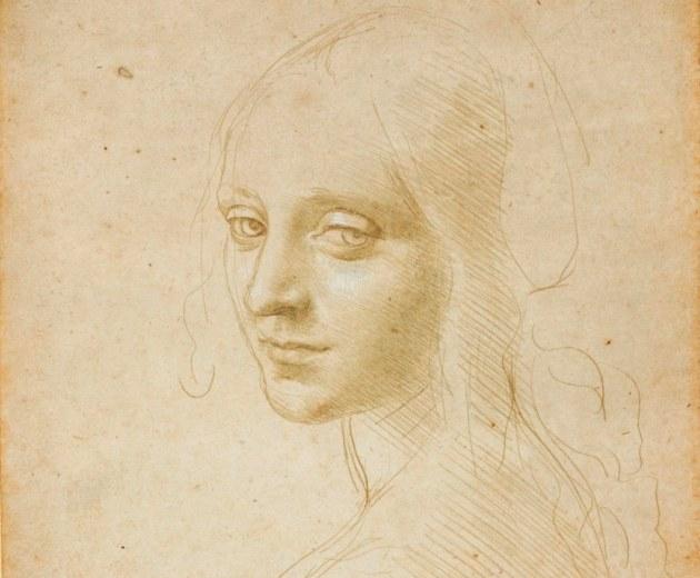 Leonardo da Vinci: Angyalfej-tanulmány (Forrás: muscarelle.org)