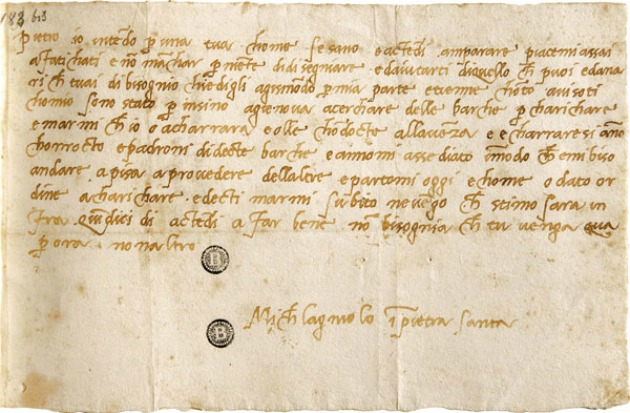 Michelangelo egyik levele 1518-ból (Forrás: arttattler.com)