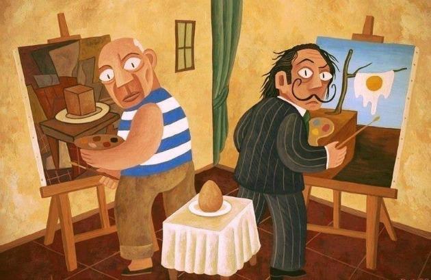 Picasso és Dalí tojást fest (Forrás: David Vela)