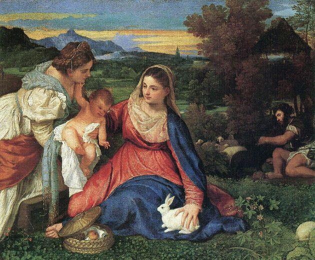 Tiziano: A Madonna és a nyúl, 1530 (Forrás: wikipedia.org)