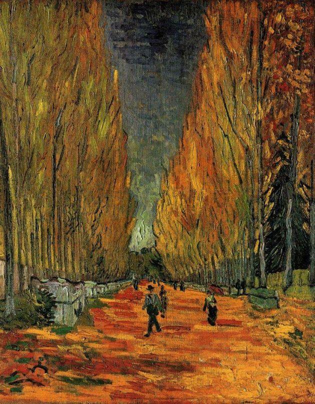 Vincent van Gogh: L'allée des Alyscamps, 1888 (Forrás: pinterest.com)