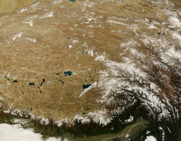 A Tibeti-fennsík (Fotó: NASA/Terra/Hirado.hu)
