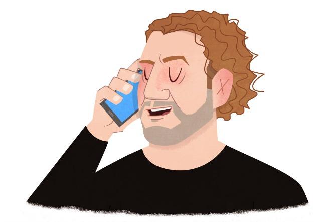 András tőle elválaszthatatlan mobiltelefonjával (Rajz: Ritter Ottó)