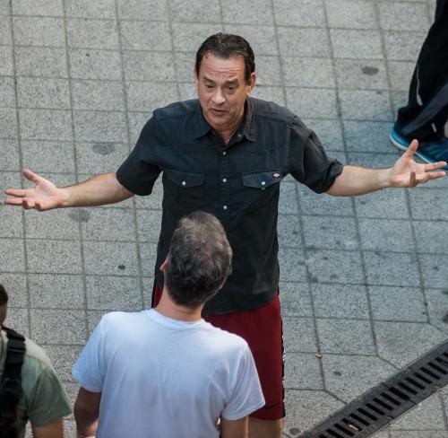 A Robert Langdon szerepét alakító Tom Hanks Budapesten forgatn (MTI Fotó: Kallos Bea)