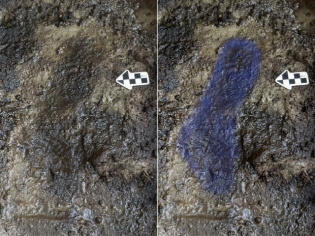Az eredeti lábnyom (balra), és kékkel kiemelt fényképváltozata (jobbra) (Fotó: Joanne McSporran)