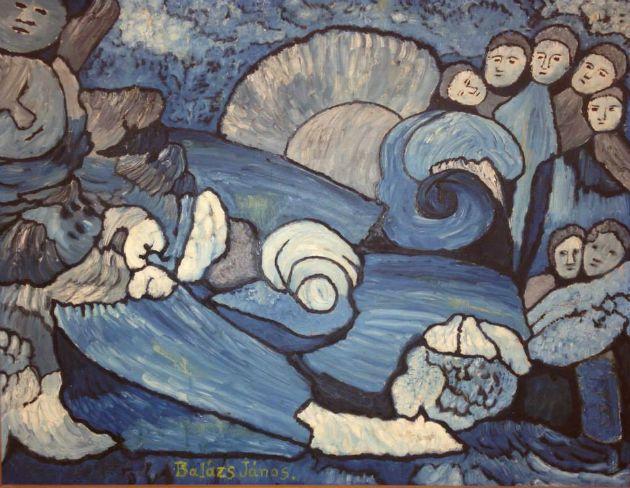 Balázs János: Tájkép alakokkal (Kék fejek)