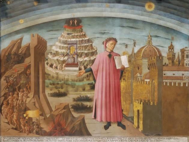 Az Isteni színjátékot kezében tartó Dante (freskó)