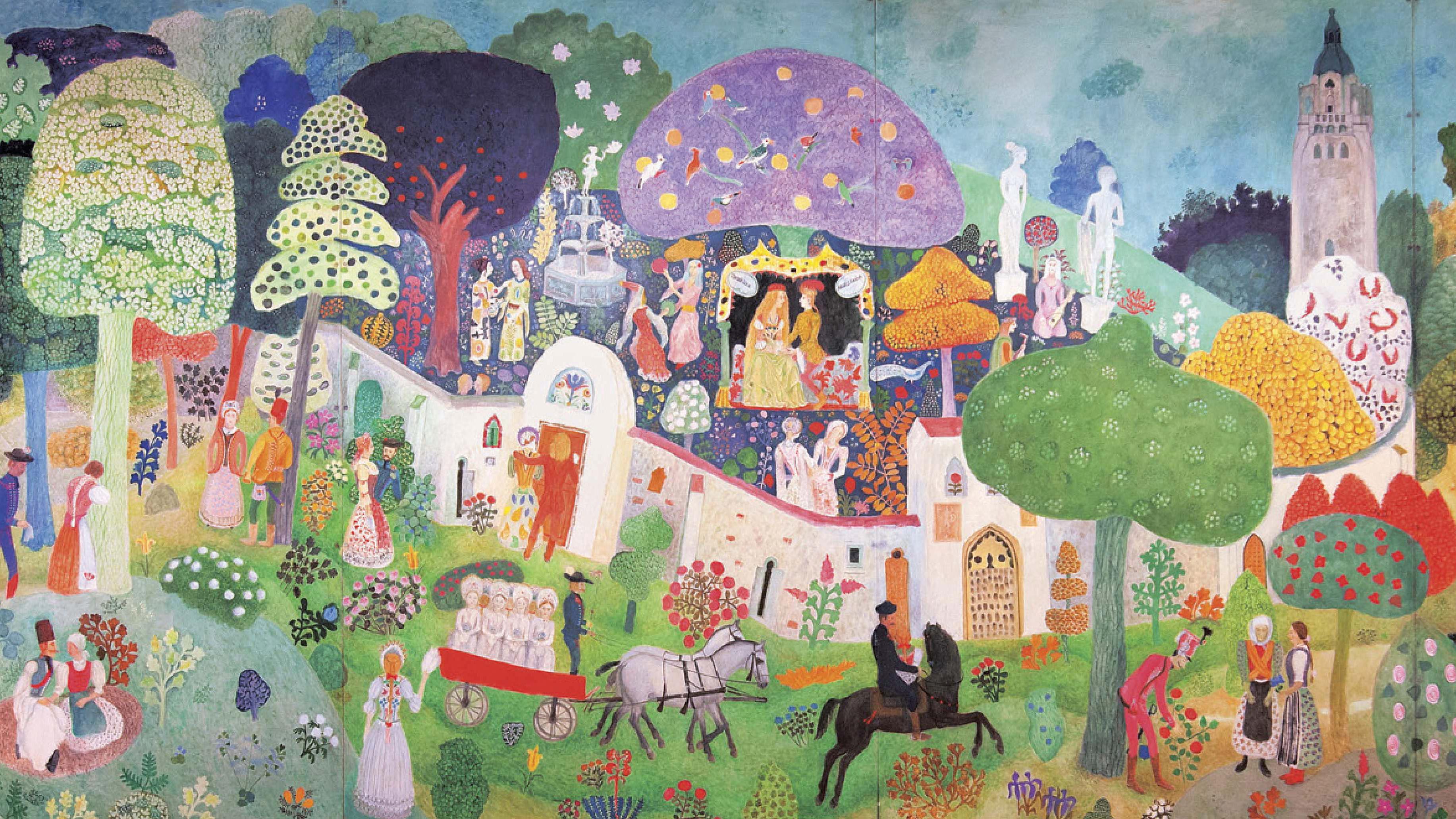 Boldogság felé (Halasi pannó), 1988, olaj, farost, 200 × 500 cm