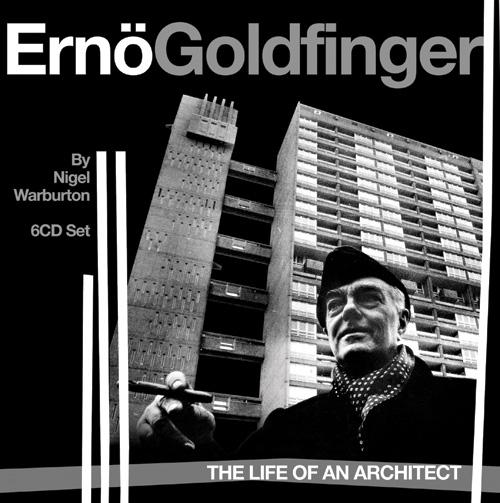 Nigel Wartburton Goldfingert bemutató könyve. A borítóképen az építész mögött a Trellick Tower látható.