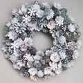 Karácsonyi ajtódíszek: fehér-ezüst