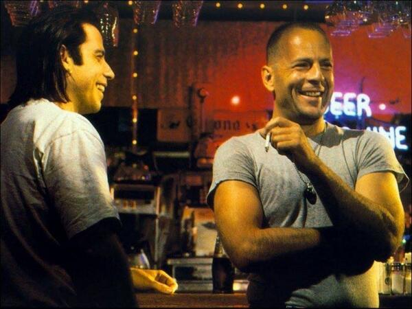 John Travolta és Bruce Willis a ponyvaregény forgatásán.jpg