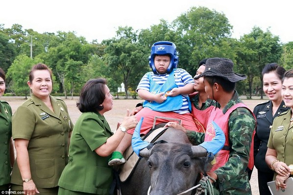 Terápiás bivaly autista gyerekeknek Thaiföldön